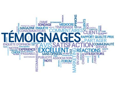 """Nuage de Tags """"TEMOIGNAGES"""" (vote avis utilisateurs clients)"""