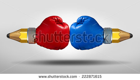 stock-photo-education-battle-concept-as-two-pencils-with-boxing-gloves-fighting-for-opposing-learning-and-222871615